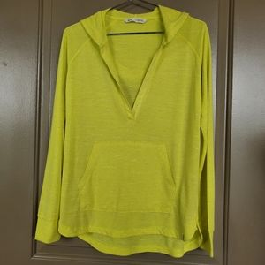 Woolrich Open V-Neck Tunic Hoodie Top, Yellow S